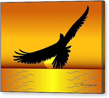 Osprey Canvas Print - Osprey Over Gold Ocean by Fred Croydon
