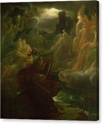 Moonlit Canvas Print - Ossian Conjuring Up The Spirits  by Francois Pascal Simon Gerard