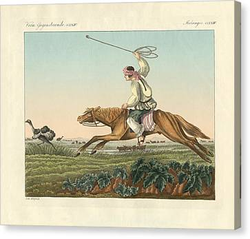 Ostrich Hunting Canvas Print by Splendid Art Prints