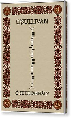 O'sullivan Written In Ogham Canvas Print by Ireland Calling