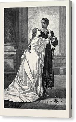 Othello And Desdemona Canvas Print by Herrick, William Salter (c.1807-1891), British