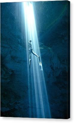Apnea Canvas Print - Into The Light by One ocean One breath