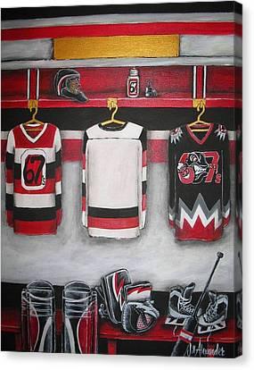 Ottawa 67's Goalie Locker Room Canvas Print by Jill Alexander
