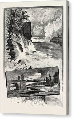 Ottawa, Chaudiere Falls, And Suspension Bridge Canvas Print by Canadian School