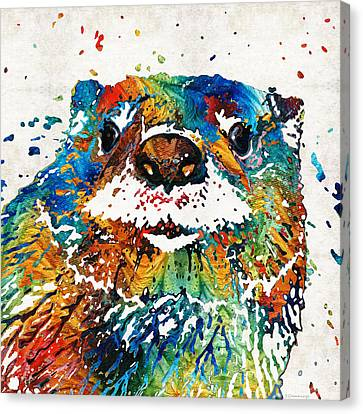 Canvas Print featuring the painting Otter Art - Ottertude - By Sharon Cummings by Sharon Cummings