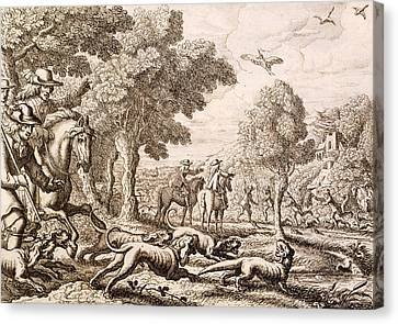 Otter Hunting By A River, Engraved Canvas Print by Francis Barlow