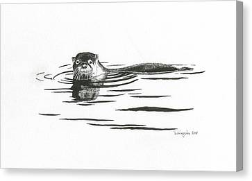Otter In The Water Canvas Print