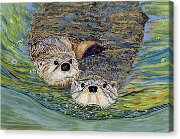 Otter Pals Canvas Print by Sandra Wilson
