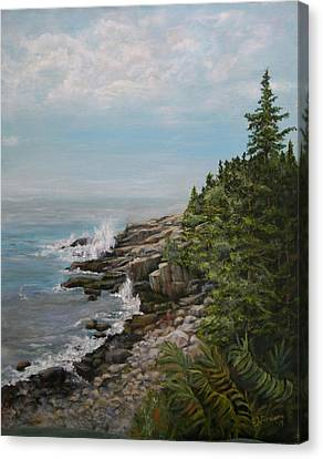 Canvas Print featuring the painting Otter Point - New England by Sandra Nardone