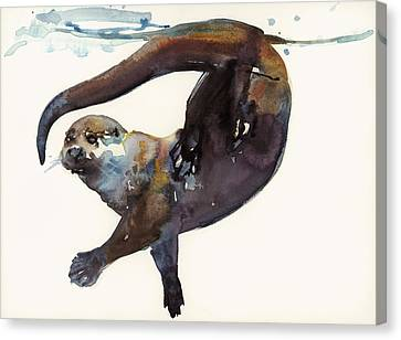Otter Study II  Canvas Print by Mark Adlington