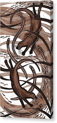 Otter With Eel, 2013 Woodcut Canvas Print by Nat Morley