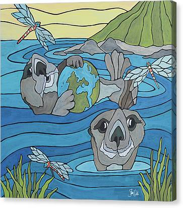 Otters & Dragonflies Canvas Print by Shanni Welsh
