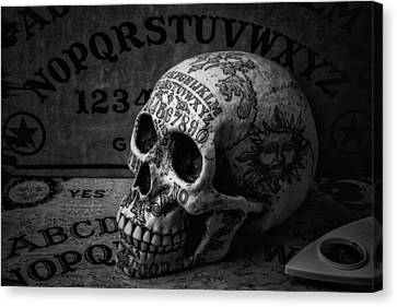 Ouija Boards And Skull Canvas Print by Garry Gay
