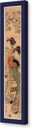 Ouka No Nibijin, Two Beauties Under A Cherry Tree Canvas Print by Torii, Kiyonaga (1752-1815), Japanese