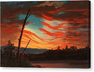 Us Flag Canvas Print - Our Banner In The Sky by War Is Hell Store