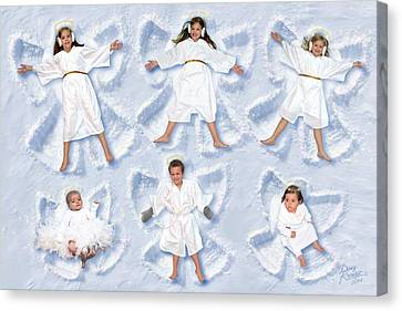 Canvas Print featuring the photograph Our Christmas Snow Angels by Doug Kreuger