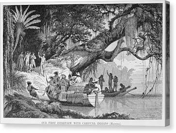 Our First Interview With Caripuna Indians, From The Amazon And Madeira Rivers, By Franz Keller Canvas Print