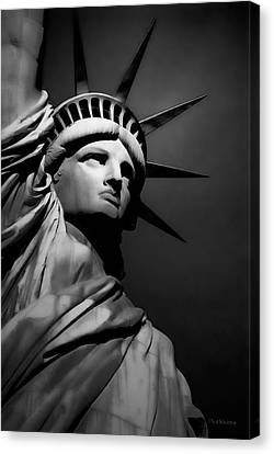 Our Lady Liberty In B/w Canvas Print by Dyle   Warren