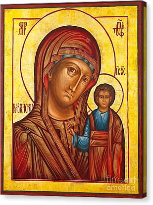 Russian Icon Canvas Print - Our Lady Of Kazan II by Ryszard Sleczka