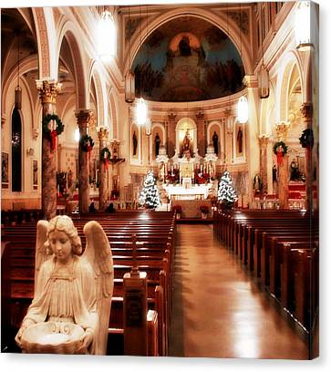 Canvas Print featuring the photograph Our Lady Of Mount Carmel Church At Christmas by Aurelio Zucco