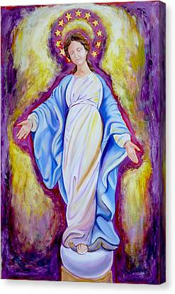 Our Lady Of The Smile Version One Canvas Print by Sheila Diemert