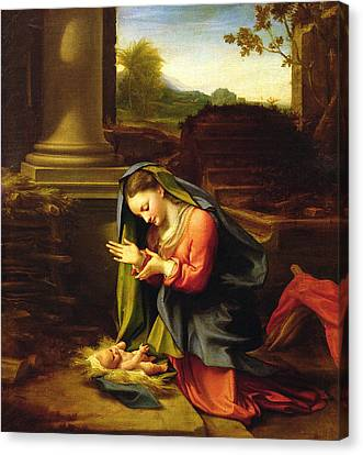 Our Lady Worshipping The Child Canvas Print by Correggio