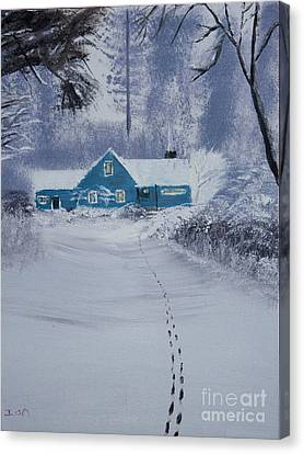 Our Little Cabin In The Snow Canvas Print by Ian Donley