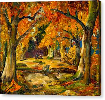 Canvas Print featuring the painting Our Place In The Woods by Mary Ellen Anderson