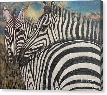 Our Stripes May Be Different But Our Hearts Beat As One Canvas Print by Kimberlee Baxter
