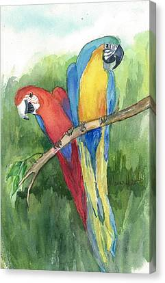 Parrots Canvas Print - You're How Old? by Maria Hunt