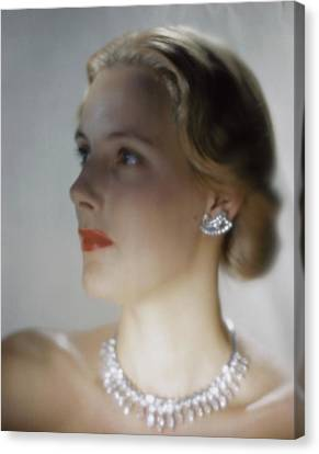 Out Of Focus Image Of A Model Wearing A Diamond Canvas Print by Erwin Blumenfeld