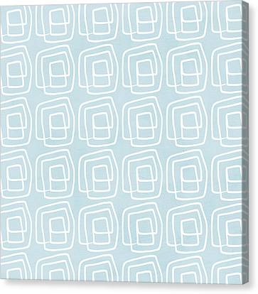 Out Of The Box Blue And White Pattern Canvas Print by Linda Woods