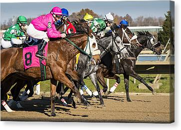 Canvas Print featuring the photograph Out Of The Gate by Phil Abrams
