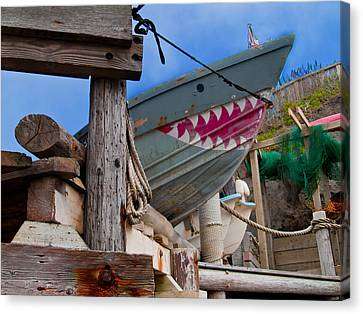 Netting Canvas Print - Out Of The Water - There's A Shark by Bill Gallagher