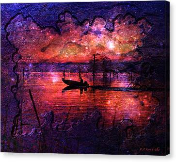 Larry Walker Digital Art Canvas Print - Out Of This World Fishing Hole by J Larry Walker
