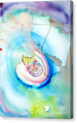 Canvas Print featuring the painting Deep Blue by Mukta Gupta