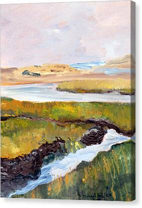 Canvas Print featuring the painting Out To The Bay by Michael Helfen