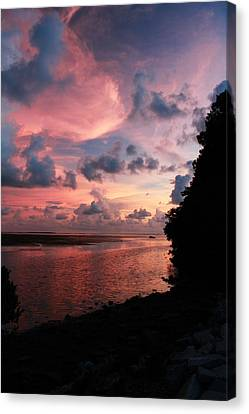 Out With A Roar Sunset Over Water Tarpon Springs Florida Canvas Print