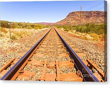Outback Railway Track And Mount Nameless Canvas Print by Colin and Linda McKie