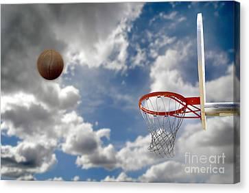 Outdoor Basketball Shot Canvas Print by Lane Erickson