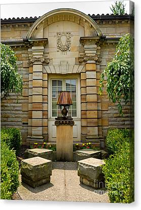 Outdoor Benches At Sewickely Pennsylvania Library Canvas Print by Amy Cicconi