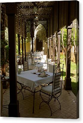 Outdoor Dining Area, Villa Des Orangers Canvas Print by Panoramic Images
