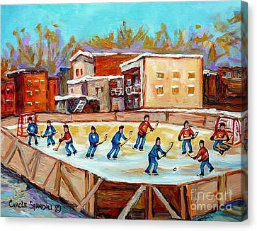 Outdoor Hockey Fun Rink Hockey Game In The City Montreal Memories Paintings Carole Spandau Canvas Print by Carole Spandau