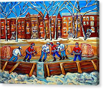 Outdoor Hockey Rink Winter Landscape Canadian Art Montreal Scenes Carole Spandau Canvas Print by Carole Spandau