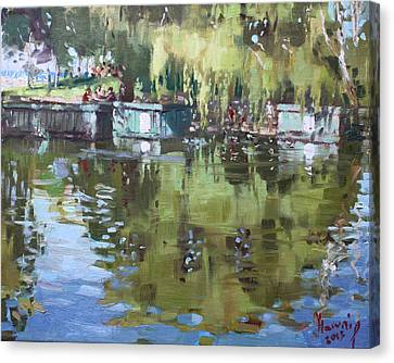 Outdoors At Port Credit Park Canvas Print by Ylli Haruni