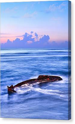 Outer Banks - Beached Boat Final Sunrise II Canvas Print by Dan Carmichael