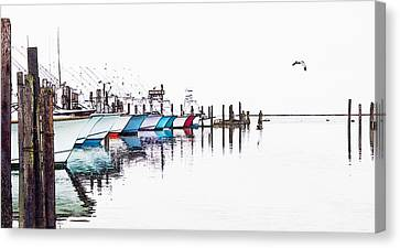 Outer Banks Fishing Boats Sketch #4 Canvas Print
