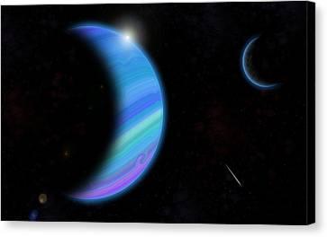 Outer Space Dance Digital Painting Canvas Print by Georgeta Blanaru