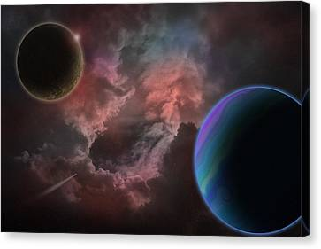 Outer Space Mystery Digital Painting Canvas Print by Georgeta Blanaru