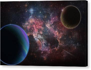 Outer Space Wonder Digital Painting Canvas Print by Georgeta Blanaru